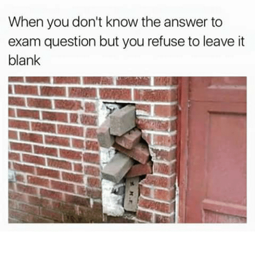 Humans of Tumblr, Blank, and Answer: When you don't know the answer to  exam question but you refuse to leave it  blank