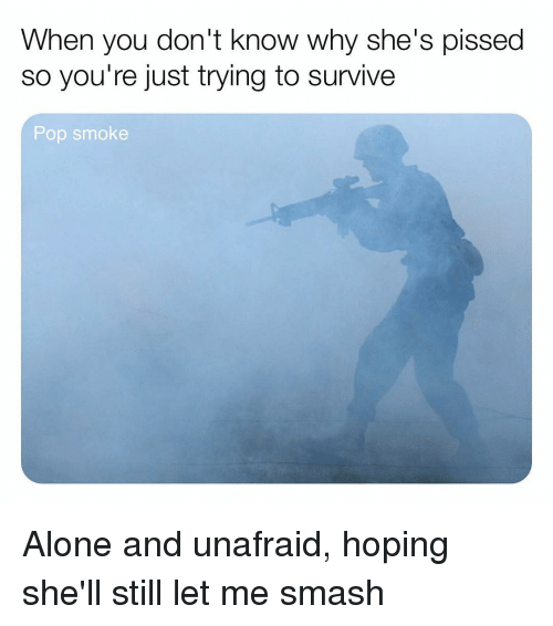Being Alone, Memes, and Pop: When you don't know why she's pissed  so you're just trying to survive  Pop smoke Alone and unafraid, hoping she'll still let me smash