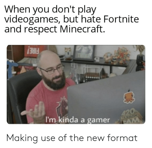Minecraft, Reddit, and Respect: When you don't play  videogames, but hate Fortnite  and respect Minecraft.  THIN  420  I'm kinda a gamer  aNIPAA  TEAM Making use of the new format