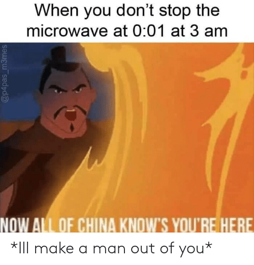 China, Make A, and Microwave: When you don't stop the  microwave at 0:01 at 3 am  NOW ALL OF CHINA KNOWS YOU'RE HERE *Ill make a man out of you*