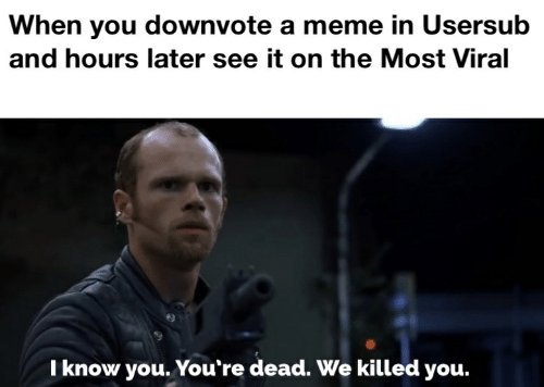 Usersub: When you downvote a meme in Usersub  and hours later see it on the Most Viral  I know you. You're dead. We killed you.