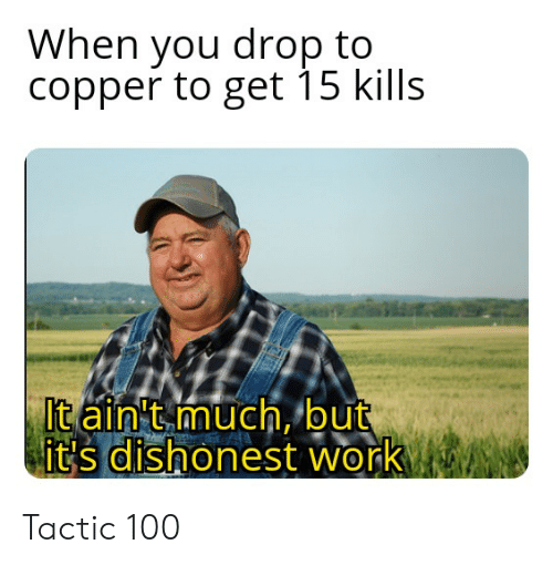 Work, Copper, and You: When you drop to  copper to get 15 kills  It ain't much, but  dishonest work  it's dishonest work  0 Tactic 100