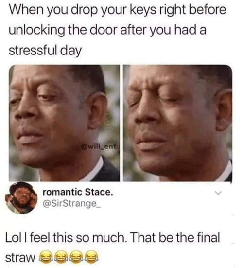 Lol, Ent, and Day: When you drop your keys right before  unlocking the door after you had a  stressful day  @will ent  romantic Stace.  @SirStrange  Lol l feel this so much. That be the final  straw