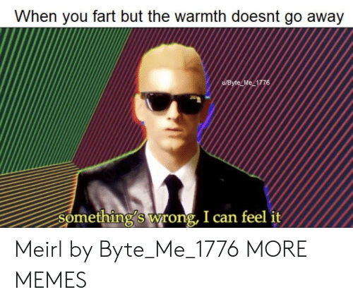 Dank, Memes, and Target: When you fart but the warmth doesnt go away  UByte Me 1776  Something's wrong, I can feel it Meirl by Byte_Me_1776 MORE MEMES