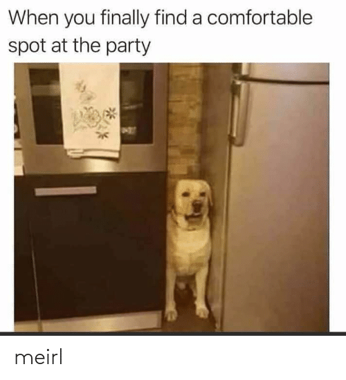Party: When you finally find a comfortable  spot at the party meirl