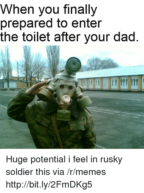 Dad, Memes, and Http: When you finally  prepared to enter  the toilet after your dad Huge potential i feel in rusky soldier this via /r/memes http://bit.ly/2FmDKg5