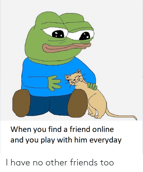 online: When you find a friend online  and you play with him everyday I have no other friends too