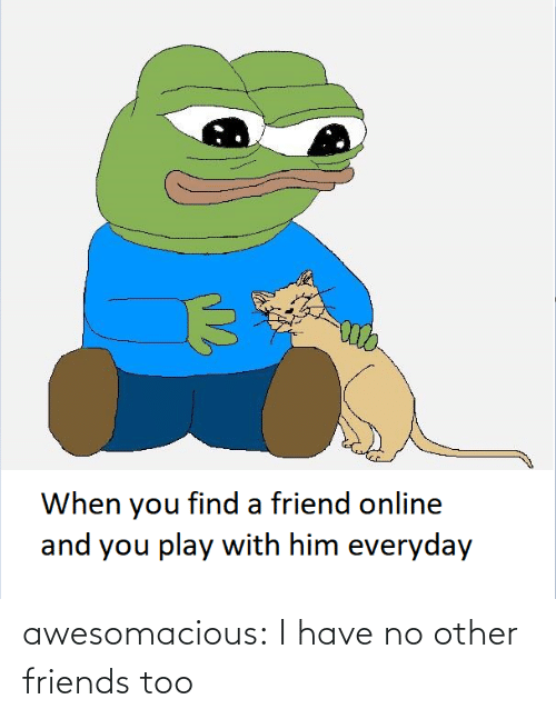 online: When you find a friend online  and you play with him everyday awesomacious:  I have no other friends too