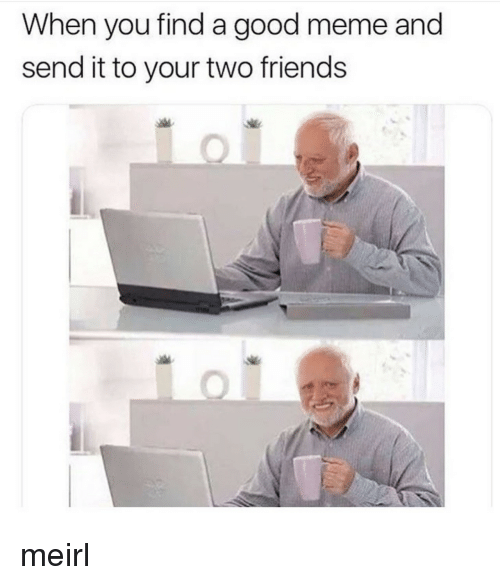 Friends, Meme, and Good: When you find a good meme and  send it to your two friends meirl