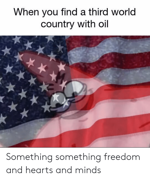 Hearts, World, and Freedom: When you find a third world  country with oil Something something freedom and hearts and minds