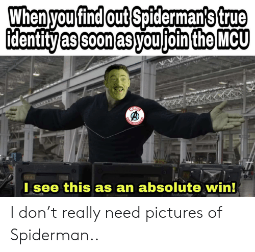Soon..., True, and Pictures: When you find out Spiderman's true  identity as soon as you join the MCU  HARVER  TIND  OPOS  I see this as an absolute win!  CHINL I don't really need pictures of Spiderman..