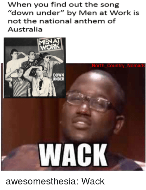 "National Anthem: When you find out the song  ""down under"" by Men at Work is  not the national anthem of  Australia  MIENAT  нож  North Country_Nomads  DOWN  UNDER  WACK awesomesthesia:  Wack"