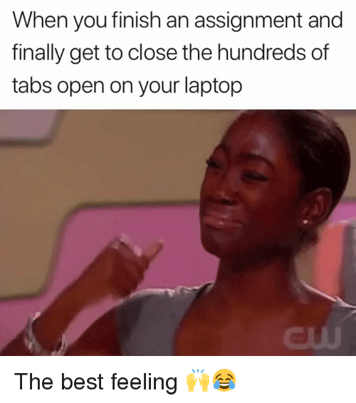 Best, Laptop, and The Hundreds: When you finish an assignment and  finally get to close the hundreds of  tabs open on your laptop  dUU The best feeling 🙌😂