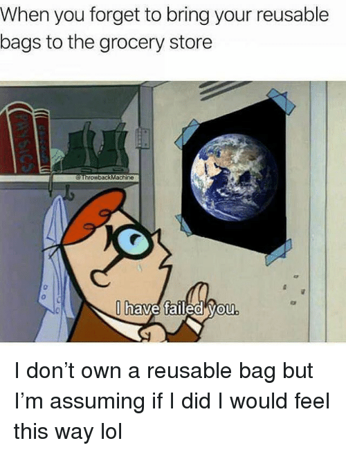 Funny, Lol, and Don: When you forget to bring your reusable  bags to the grocery store  ThrowbackMachine  0  have faileO VOu  0 I don't own a reusable bag but I'm assuming if I did I would feel this way lol