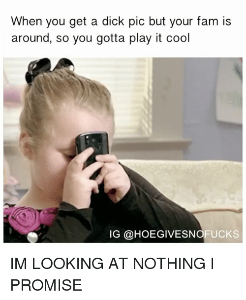 Dicks Pics: When you get a dick pic but your fam is  around, so you gotta play it cool  IG @HOEGIVESNOFUCKS IM LOOKING AT NOTHING I PROMISE