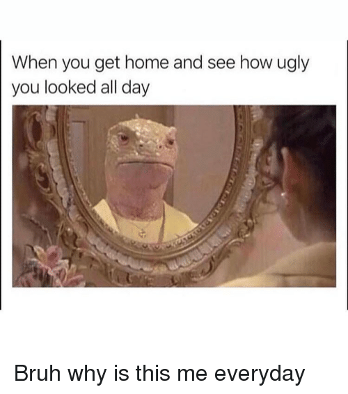 Bruh, Memes, and Ugly: When you get home and see how ugly  you looked all day Bruh why is this me everyday