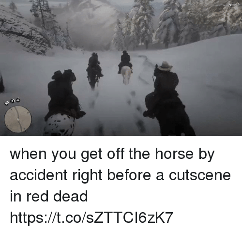 Horse, Red Dead, and Red: when you get off the horse by accident right before a cutscene in red dead https://t.co/sZTTCI6zK7