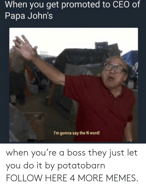 Bossing: When you get promoted to CEO of  Papa John's  I'm gonna say the N word! when you're a boss they just let you do it by potatobarn FOLLOW HERE 4 MORE MEMES.
