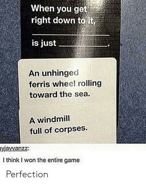 I Won, Game, and Down: When you get  right down to it,  is just  An unhinged  ferris wheel rolling  toward the sea.  A windmill  full of corpses.  yjayvanzz:  I think I won the entire game Perfection