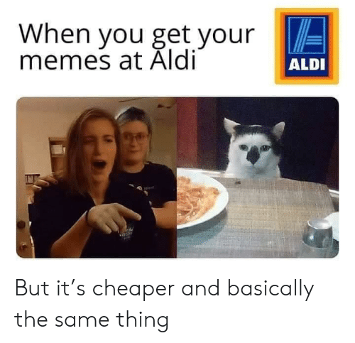 Memes, Aldi, and Dank Memes: When you get your  memes at Aldi  ALDI But it's cheaper and basically the same thing