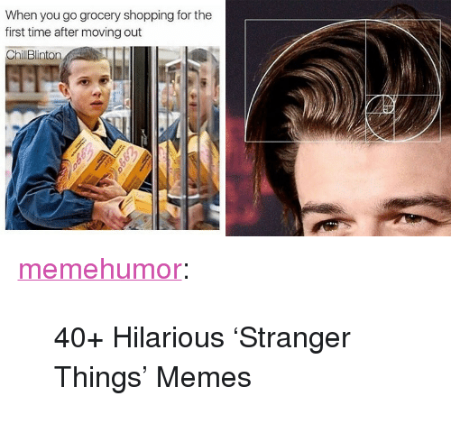 "Memes, Shopping, and Tumblr: When you go grocery shopping for the  first time after moving out  ChillBlinton <p><a href=""http://memehumor.net/post/171039488188/40-hilarious-stranger-things-memes"" class=""tumblr_blog"">memehumor</a>:</p>  <blockquote><p>40+ Hilarious 'Stranger Things' Memes</p></blockquote>"