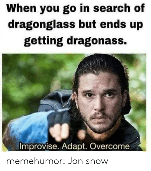 Adapte: When you go in search of  dragonglass but ends up  getting dragonass.  Improvise. Adapt. Overcome memehumor:  Jon snow