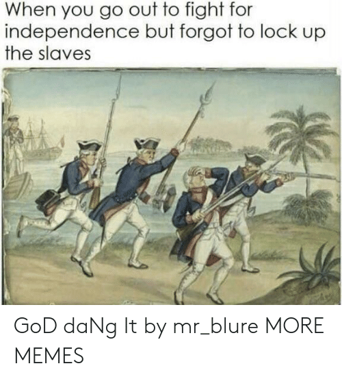 Dank, God, and Memes: When you go out to fight for  independence but forgot to lock up  the slaves GoD daNg It by mr_blure MORE MEMES
