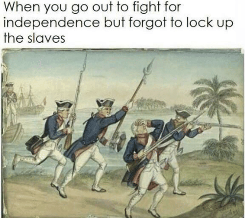 Fight, Lock, and Slaves: When you go out to fight for  independence but forgot to lock up  the slaves
