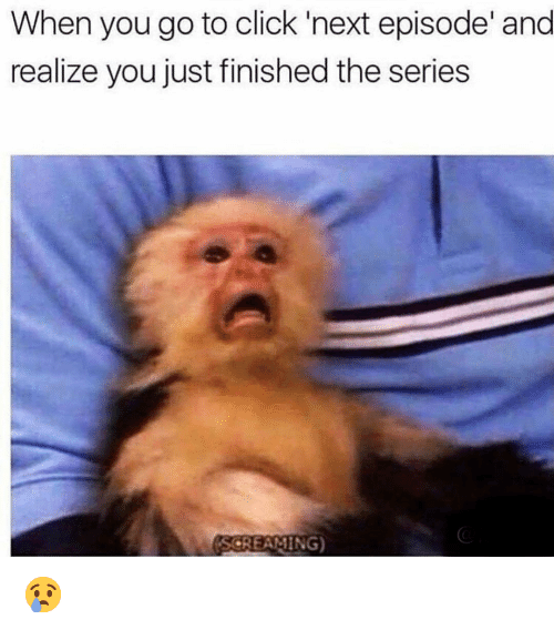 Click, Funny, and Next: When you go to click 'next episode' and  realize you just finished the series  SCREAMING) 😢