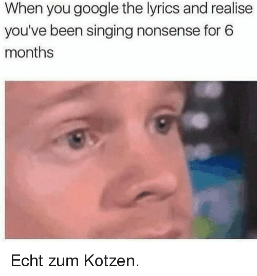 Google, Singing, and Lyrics: When you google the lyrics and realise  you've been singing nonsense for 6  months Echt zum Kotzen.
