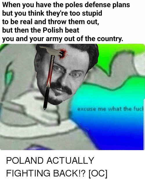 Army, Fuck, and History: When you have the poles defense plans  but you think they're too stupid  to be real and throw them out,  but then the Polish beat  you and your army out of the country  xcu  se me what the fuck