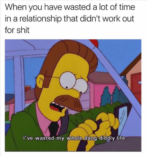 Diddly: When you have wasted a lot of time  in a relationship that didn't work out  for shit  've wasted my whole dang-diddly life