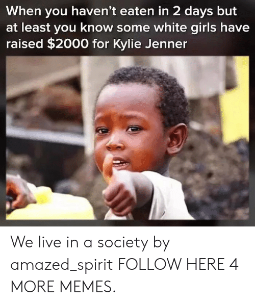 Dank, Kylie Jenner, and Memes: When you haven't eaten in 2 days but  at least you know some white giris have  raised $2000 for Kylie Jenner We live in a society by amazed_spirit FOLLOW HERE 4 MORE MEMES.