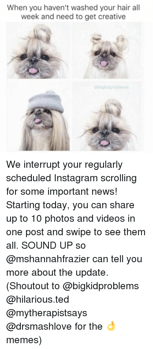 Instagram, Memes, and News: When you haven't washed your hair all  week and need to get creative  bigkid problems We interrupt your regularly scheduled Instagram scrolling for some important news! Starting today, you can share up to 10 photos and videos in one post and swipe to see them all. SOUND UP so @mshannahfrazier can tell you more about the update. (Shoutout to @bigkidproblems @hilarious.ted @mytherapistsays @drsmashlove for the 👌 memes)