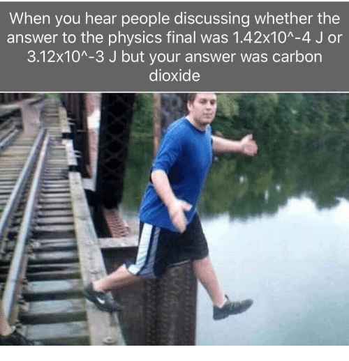 Physics, Answer, and Carbon: When you hear people discussing whether the  answer to the physics final was 1.42x10A-4 J or  3.12x10A-3 J but your answer was carbon  dioxide