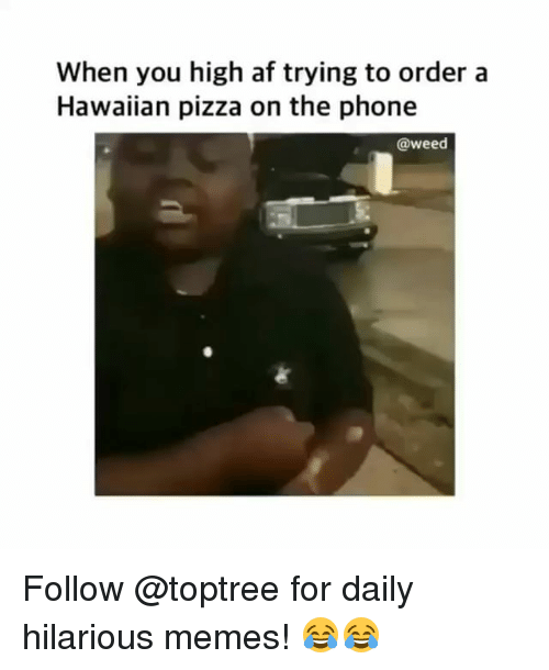 Af, Memes, and Phone: When you high af trying to order a  Hawaiian pizza on the phone  @weed Follow @toptree for daily hilarious memes! 😂😂