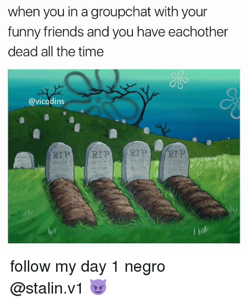 Memes, 🤖, and Stalin: when you in agroupchat with your  funny friends and you have eachother  dead all the time  @vicodins  RIP  RIP RIP RIP follow my day 1 negro @stalin.v1 😈
