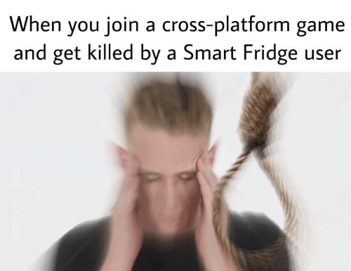 Cross, Game, and Fridge: When you join a cross-platform game  and get killed by a Smart Fridge user