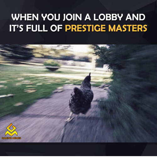 Video Games, Prestige, and Master: WHEN YOU JOIN A LOBBY AND  IT'S FULL OF PRESTIGE MASTERS  GAMING MEMES