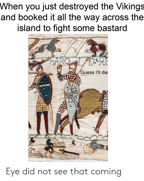 Guess, History, and Vikings: When you just destroyed the Vikings  and booked it all the way across the  island to fight some bastard  ARC  DRE  Guess l'll die Eye did not see that coming