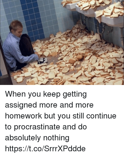 Homework, Girl Memes, and You: When you keep getting assigned more and more homework but you still continue to procrastinate and do absolutely nothing https://t.co/SrrrXPddde