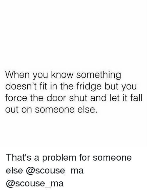 Fall, Memes, and 🤖: When you know something  doesn't fit in the fridge but you  force the door shut and let it fall  out on someone else. That's a problem for someone else @scouse_ma @scouse_ma