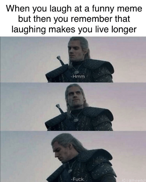 funny meme: When you laugh at a funny meme  but then you remember that  laughing makes you live longer  -Hmm  -Fuck.  I0athowitch