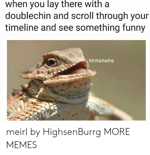 Dank, Funny, and Memes: when  you  lay  there  with  a  doublechin and scroll through your  timeline and see something funny  hhhehehe meirl by HighsenBurrg MORE MEMES