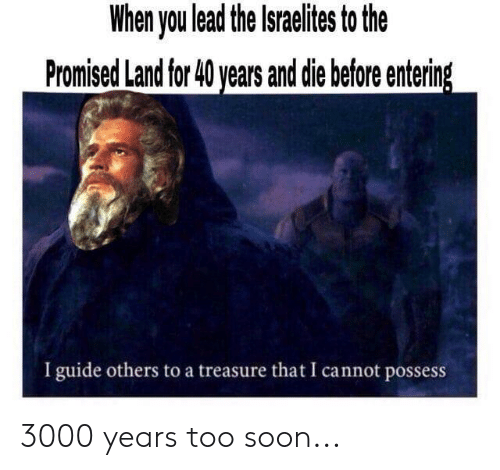 Soon..., Dank Christian, and Lead: When you lead the Israelites to the  Promised Land for 40 years and die before entering  I guide others to a treasure that I cannot possess 3000 years too soon...