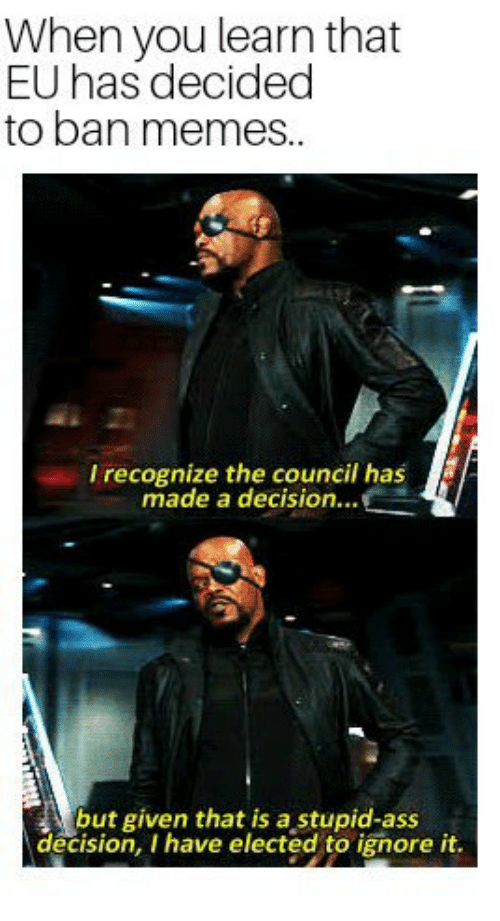 Ass, Memes, and You: When you learn that  EU has decided  to ban memes..  I recognize the council has  made a decision...  but given that is a stupid-ass  decision, I have elected to ignore it.