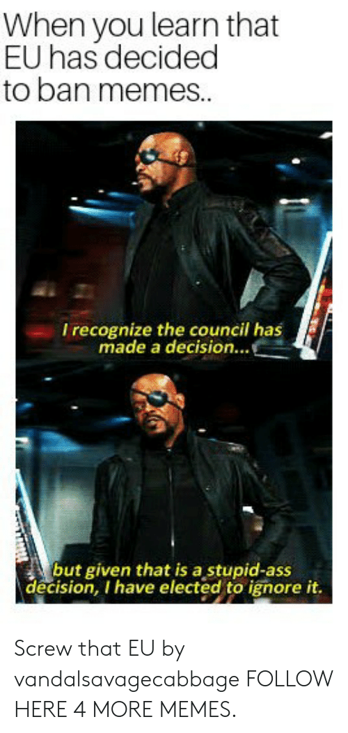 Ass, Dank, and Memes: When you learn that  EU has decided  to ban memes..  I recognize the council has  made a decision...  but given that is a stupid-ass  decision, I have elected to ignore it. Screw that EU by vandalsavagecabbage FOLLOW HERE 4 MORE MEMES.