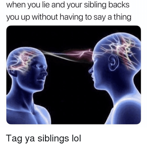 Funny, Lol, and Thing: when you lie and your sibling backs  you up without having to say a thing Tag ya siblings lol