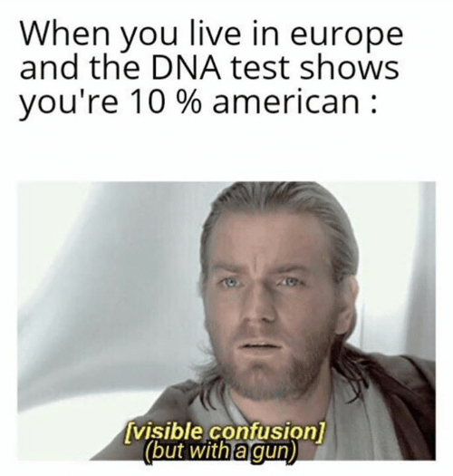 Europe: When you live in europe  and the DNA test shows  you're 10 % american  visible confusion]  (but with a gun)