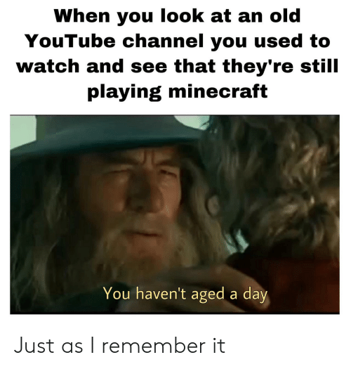 Minecraft, youtube.com, and Watch: When you look at an old  YouTube channel you used to  watch and see that they're still  playing minecraft  You haven't aged a day Just as I remember it
